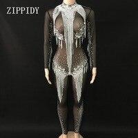 Яркие Серебряные стразы кисточкой комбинезон кристаллы Black Mesh боди Для женщин праздновать роскошный костюм видеть сквозь одежду