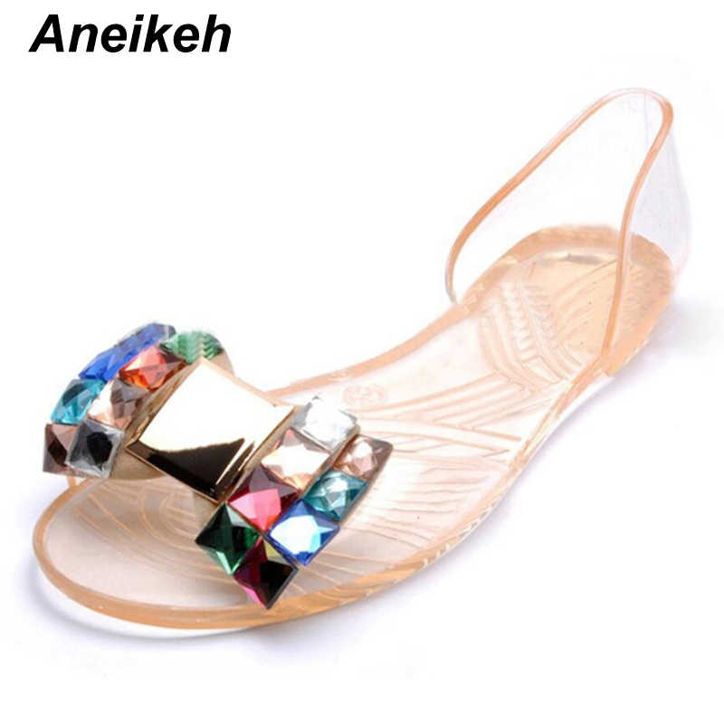 2f054bffd4 ... Aneikeh Women Sandals Summer Style Bling Bowtie Jelly Shoes Woman  Casual Peep Toe Sandal Crystal Flat ...