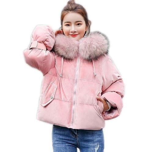 Teenager Girls Winter Casual Jacket Children Fur Collar Down Wadded Coat Thick Loose Girls Down Padded Jackets Hooded Parka 2017new down parka winter jacket women cotton padded thick ultra light long coat faux fur collar hooded female jackets for woman page 1