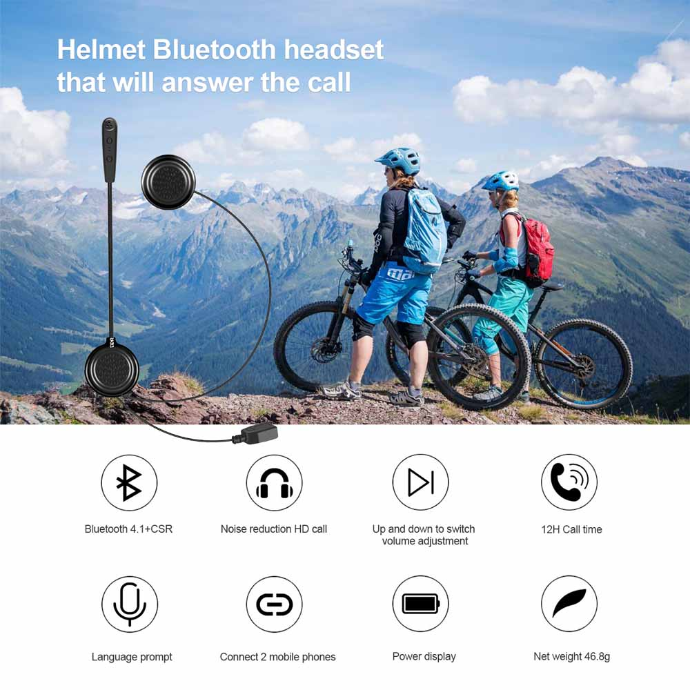 2pcs EJEAS E1 Bluetooth 4.1 Motorcycle Helmet Intercom Headset 270mAh 12hrs Wireless Skiing Communication For 2 Riders