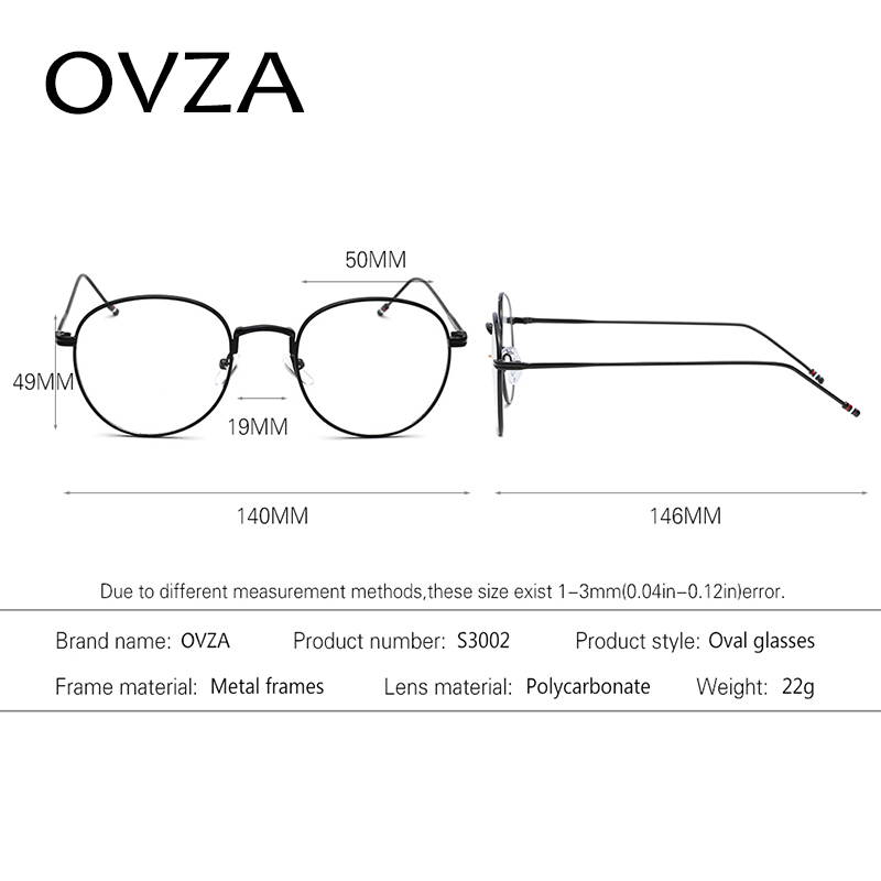 OVZA 2018 Oval Metal Glasses Frames Women Fashion Men Readers ...