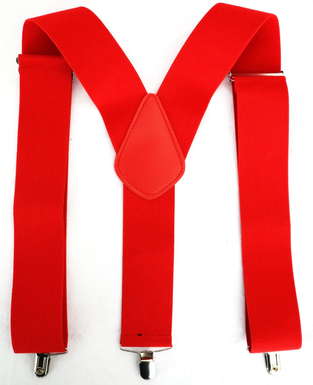 11.11 Suspenders Mens New 2 Inch 50mm Wide Black Red Color  Y-Back Clip-On Braces Suspenders For Mens Male