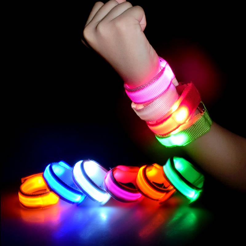 50pcs Christmas Party Favor Glow LED Flashing Bracelets Sport Running Riding Safty Light LED Bracelet For Kids Men Women