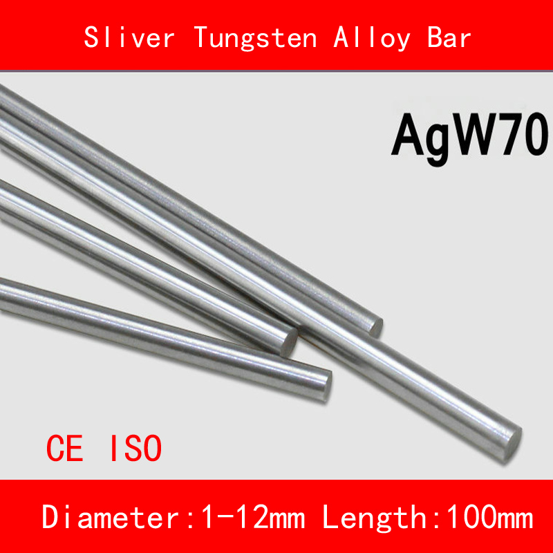 Diameter 1-12mm length 100mm AGW70 Ag-W Sliver Tungsten Alloy Bar Round Spot Welding Electrode Mould CNC Material ISO CE tungsten cemente carbide sheet tungsten cohalt steel wc co alloy board yg15 yg20 iso k40 diy mould cnc metal process plate