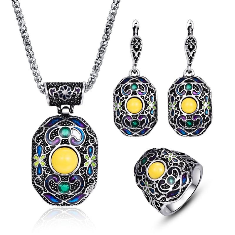 Boho אמייל תכשיטים סטים לנשים וינטג תכשיטים עתיקים כסף כסף גיאומטרי מתכת תליון שרשרת עגילים טבעת להגדיר 20%