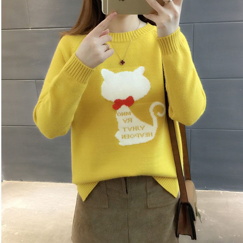 Pullovers 2019 New Knitwear Woman Winter Knit Korea Jumper Sweater Ladies New Yellow Pullover Tops Long Sleeve Fashion Female