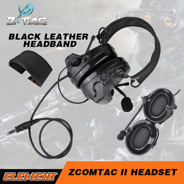 5d3a8b701f3 Z tactical comtac ii Softair peltor headset aviation headset airsoft  headphones for shooting with leather Headband Z041 BK