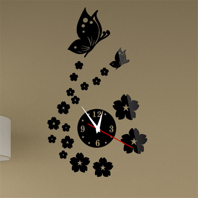 3D Butterfly Flowers Wall Clock Mirror Wall Stickers Home Decoration TV Background Decoration Mirror Living Room Sticking Decal
