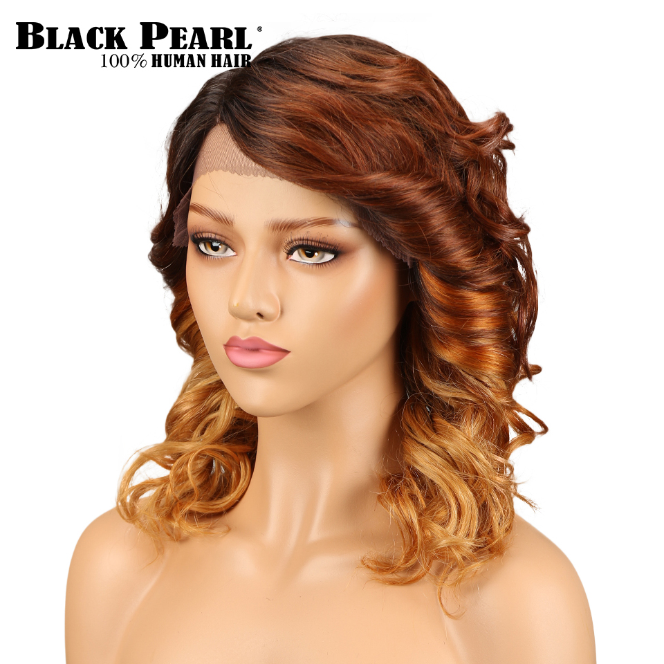 Black Pearl Loose Wave Lace Front Human Hair Wig Brazilian Ombre Remy Hair Blonde Wave Wig Side Part Wig For Black Women