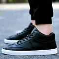 2017 Nueva Primavera/Otoño de Los Hombres Zapatos de Alta-top Zapatos Casuales Zapatos de Los Hombres de La Pu de Invierno de Cuero Para Hombre Zapatos de Cordones de Los Hombres Zapatos planos Zapatos Hombre