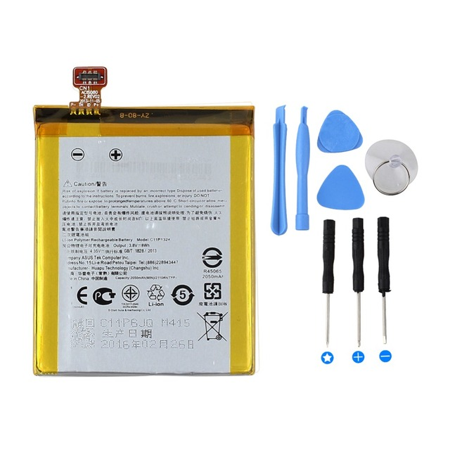 High Capacity 2050mAh C11P1324 Replacement Li-ion Battery For ASUS ZenFone 5 A500G Z5 T00J Mobile Phone Battery with 8 in 1 Tool
