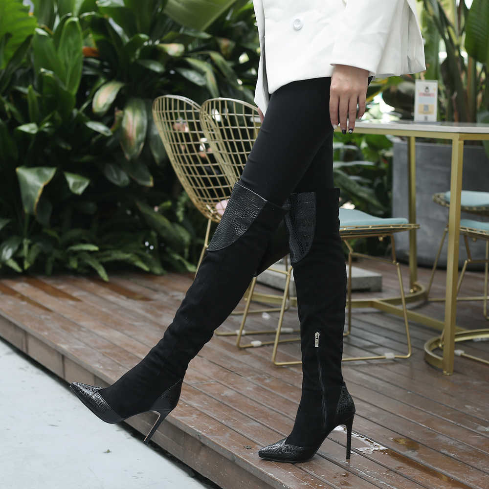 Alionashoo haut Faux daim femmes cuissardes Stretch mince mode Sexy sur les bottes au genou femmes chaussures talons hauts Size34-46