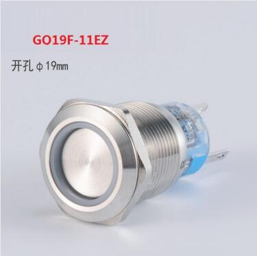 GQ19F-11EZ <font><b>19mm</b></font> 1NO 1NC Latching <font><b>LED</b></font> light Ring Lamp type metal push button switch with flat round