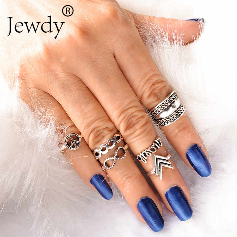 Jewdy Bohemian Infinity Midi ชุดแหวนเงินสีแฟชั่นเครื่องประดับ 6 ชิ้น/แพ็ค Dream Vintage Arrow Knuckle แหวน