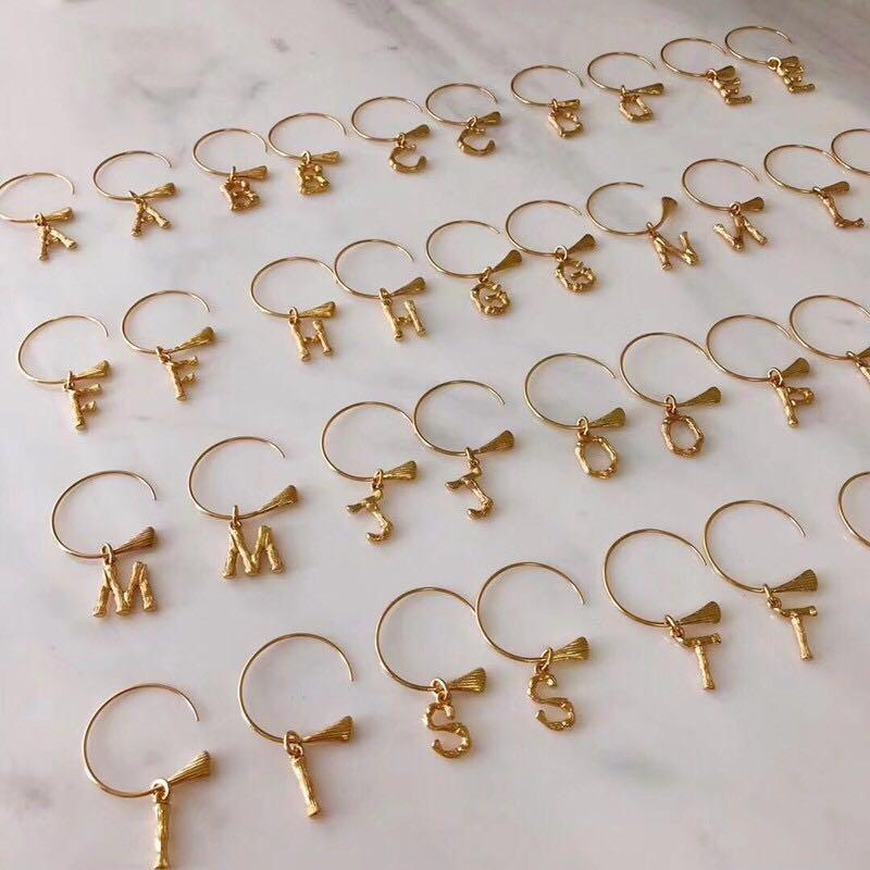 26 Letters Statement Vintage Pendants Earrings Alfabet Initial Hoop Earring modis Woman Wedding Gifts brinco oorbellen