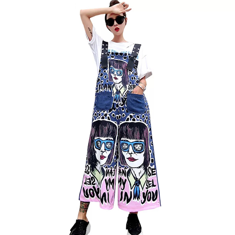 Summer New Print Cute Cartoon Denim Overalls Dot Printing Wide Leg Jean Pants Trousers Rompers Overall For Women  Jumpsuit Femme