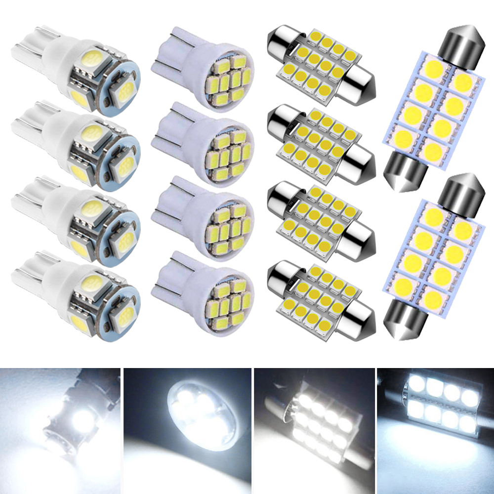 14 Assorted LED Car Interior Inside Bulb Light Dome Trunk Map License Plate Lamp