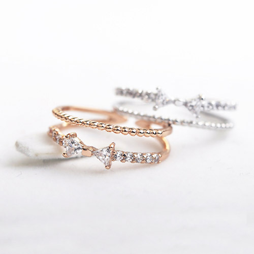 Bridal sets bowknot Austria Crystals wedding Rings for women Jewelry rose gold color open finger midi Rings female Anel gift