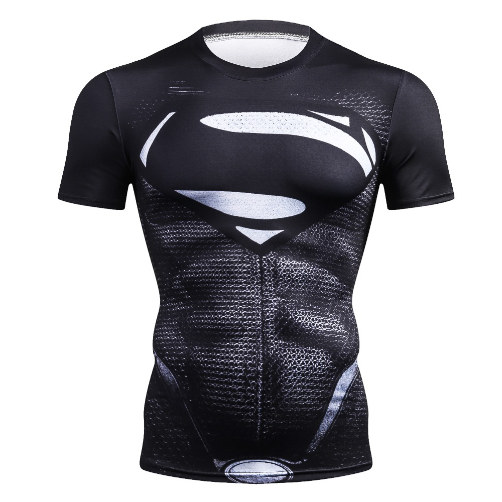 Sports Short Sleeve T Shirt Gym MMA 3D T-shirt Crossfit Top Black Crossfit Funny Superman shirt Compression Running UFC Rashgard