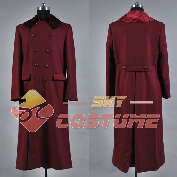 Doctor Who 4th Doctor Plum Red Long Trench Wool Coat New Original 100% Cosplay Costume Halloween Uniform Outfit