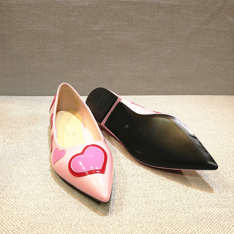 flat shoes pointed thick with pink love shallow lacquer leather stitching singles shoes Flat heel Shoes womens shoes flats