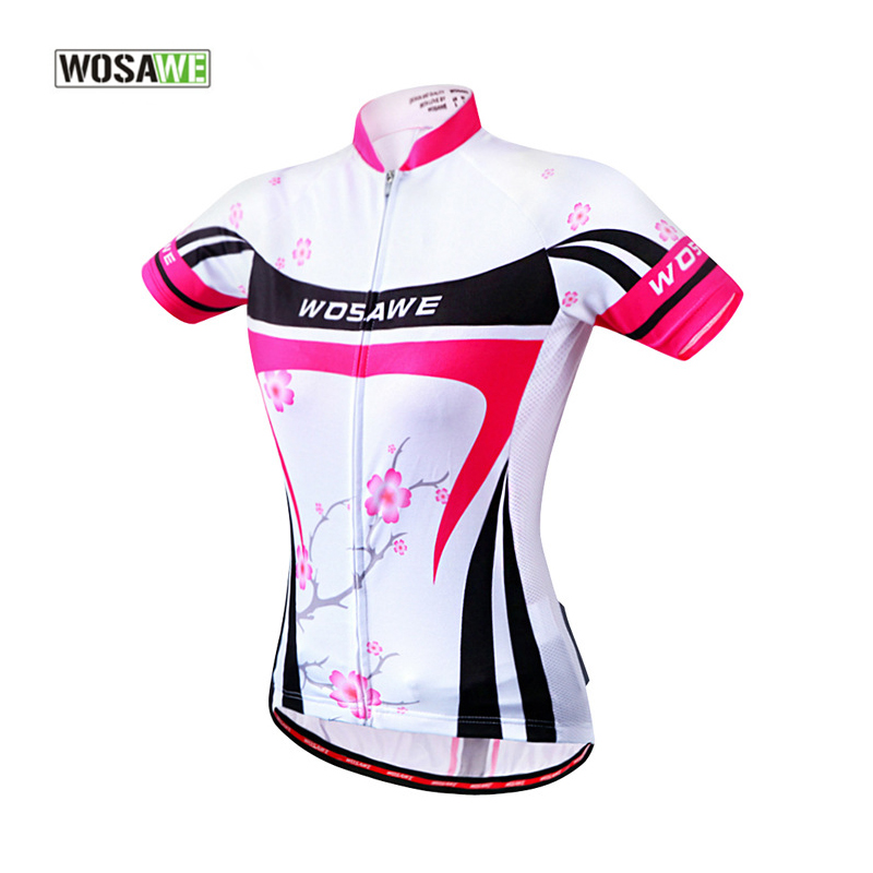 WOSAWE Cycling Clothing Women Breathable Quick Dry Reflective Cycling Jersey MTB Short Sleeve Pink Sports Shirt Female Maillot