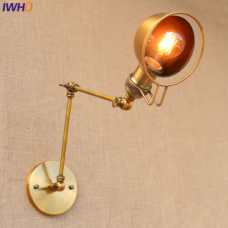 Loft Retro industrial Iron wall <font><b>lamp</b></font> <font><b>LED</b></font> with <font><b>edison</b></font> bulb E27 Long Arm Wall lights for cafe hallway bedroom living room bar cafe