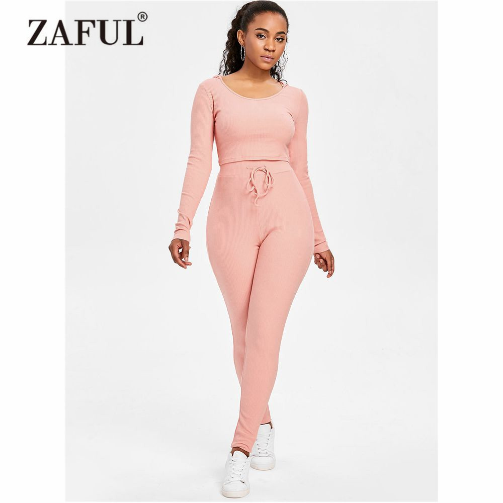 ZAFUL Women Yoga Set Ribbed Crop Top and Pants Set Exercise Shirts Gym Clothes Running Tights Women Sports Leggings Fitness Yoga 2 pcs tights wicking running set women vest and pants sport suit training tank top fitness gym polyester tracksuit yoga sets