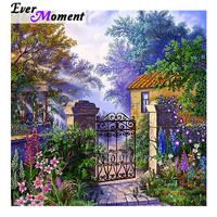 Ever Moment Diamond Painting Home Picture Of Rhinestone House Door Flower Full Square Drill Diamond Embroidery Mosaic ASF1634