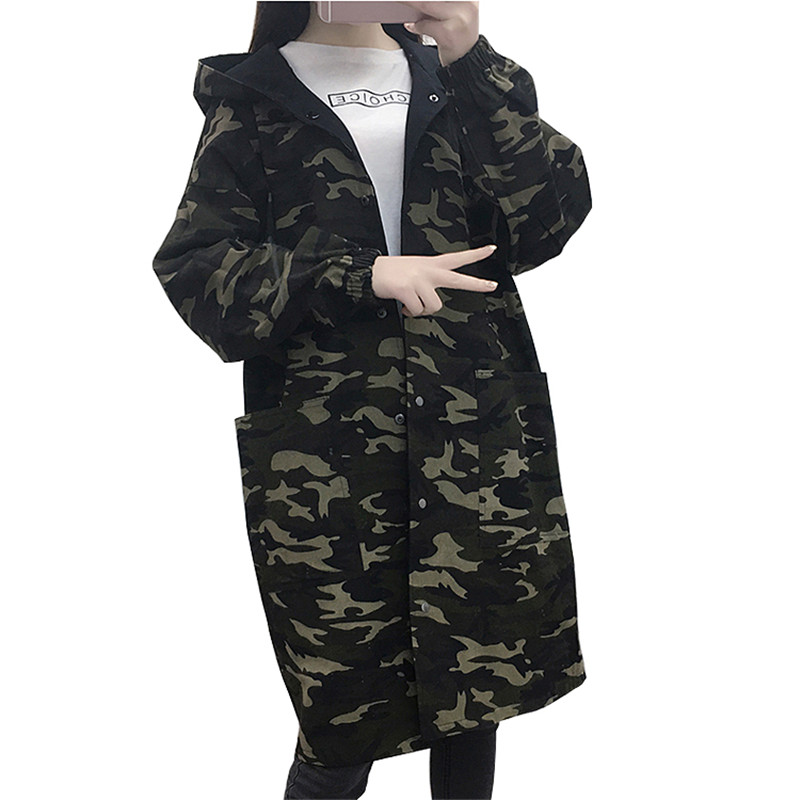 Spring and Autumn   Trench   Coat For Women's Large Size Windbreaker Loose Thin Wear On Both Sides Camouflage Coat Casual Top L257