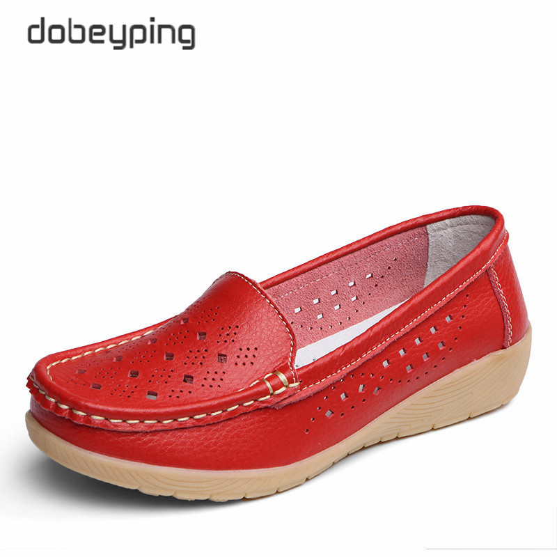 Dobeyping New Genuine Leather Women Flats Cut-Outs Shoes Woman Hollow Summer Women's Loafers Moccasins Female Shoe Size 35-41