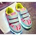 2017 новые светодиодные светящиеся Мальчики Shoes Дышащий Спорт Baby Shoes USB зарядки дети Дети, Бегущие Кокосовое Девушки Кроссовки LW2