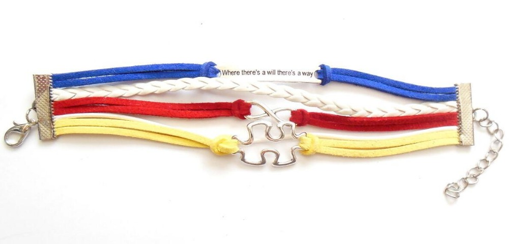 CRM009 Autism Awareness Leather Bracelet Puzzle Piece Infinity Where There's A Will Way Handmade Bradied Puzzle Piece Bracelet