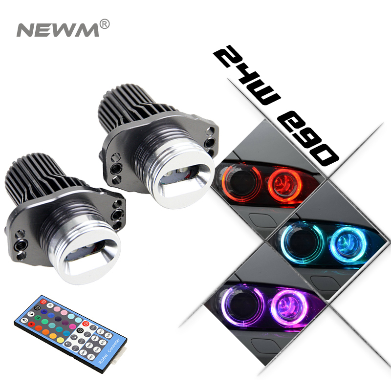 RGB E90 LED Marker E90 RGBW Color Change LED Angel Eyes 24W For BMW 3 Series E90 E91 316d 316i 318d 320i 325i 2pcs angel eyes car auto white led light for bmw e90 e91 3 series 325i 328i 325xi 328xi 330i 06 08 excellent quality angel eyes