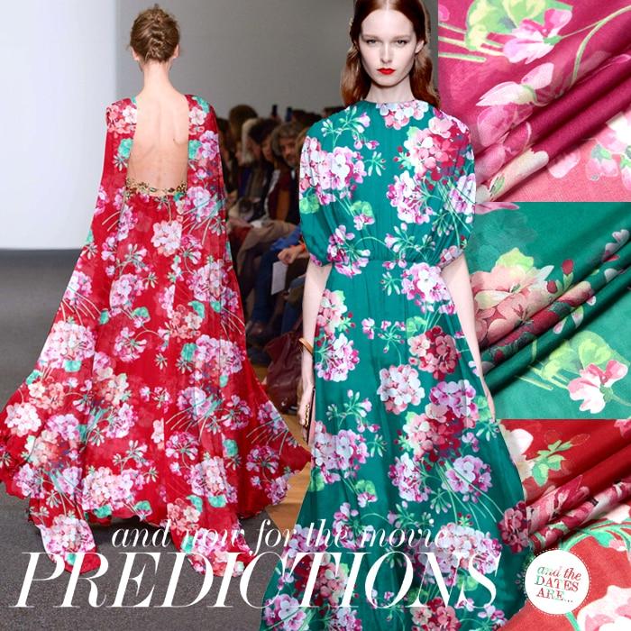 Hedvábná šifonová tkanina s květinovým potiskem o šířce 140 cm, která je vhodná pro dlouhé a krátké šaty, 3 barvy k dispozici D210