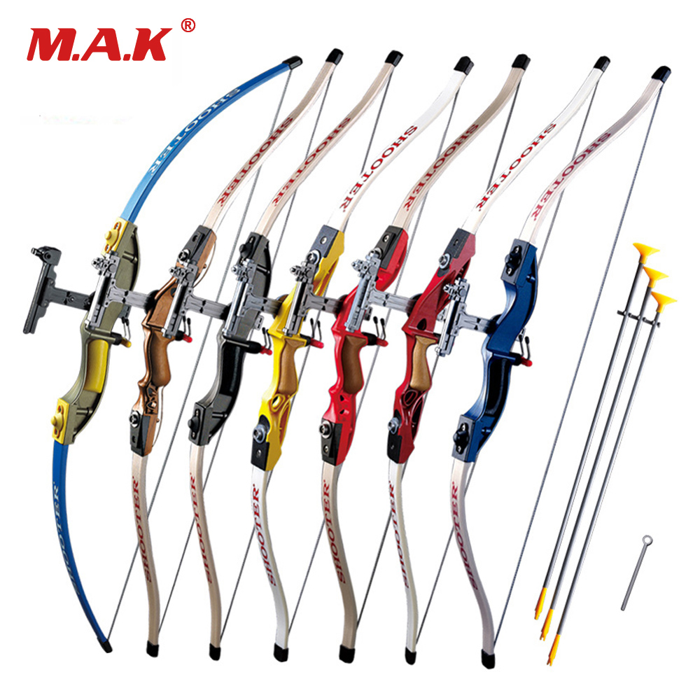 7 Color Send Sucker Recurve Bows With 3pcs Scuker Arrows For Children Safe Outdoor Sports Shooting Game Hunting Practice