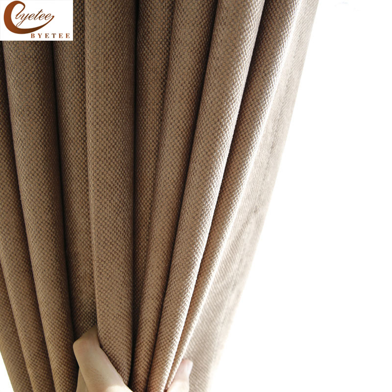 [byetee] Modern Solid Shade Curtain Cotton Linen Fabric Curtain Living Room Balcony Kitchen Blackout Curtains For Bedroom