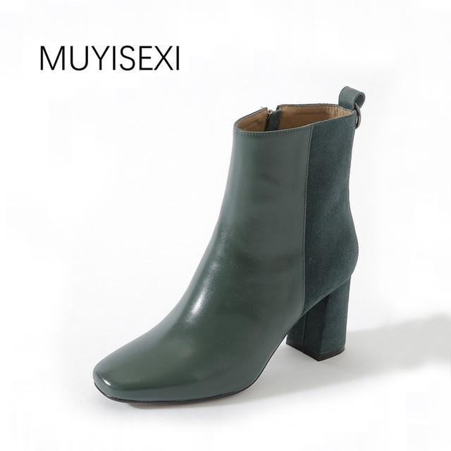 ab69f660ad4 US $119.9 |MUYISEXI High Heels Square Toe Boots Autumn Genuine Leather  Women Shoes Fashion Mixed Color Ankle Boots Green Black KL01-in Ankle Boots  ...