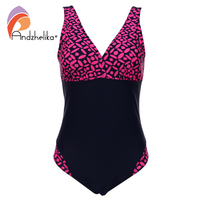 Andzhelika Plus Size Swimwear One Pieces Swimsuits Pint Geometric Patchwork Solid High Waist Bathing Suits Swimming