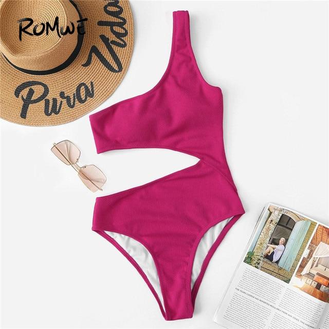 Romwe Спорт Красный одно плечо Вырез Цельный купальник женский летний простой беспроводной пляжный отдых сексуальный Монокини Купальники 2