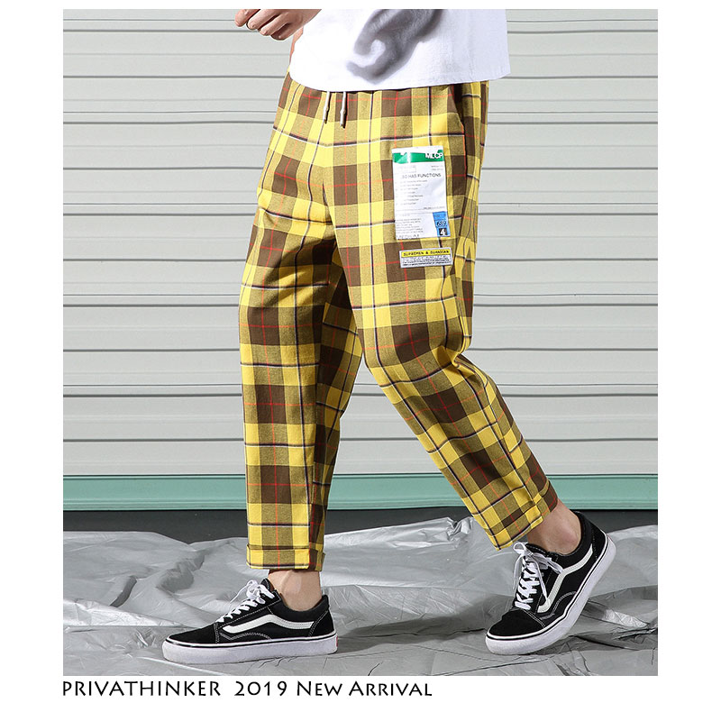 Privathinker Men Lattice Print Harem Pants 2019 Mens Casual Colorful Thin Pants Male Ankle-Length Pants Trousers Oversize Summer