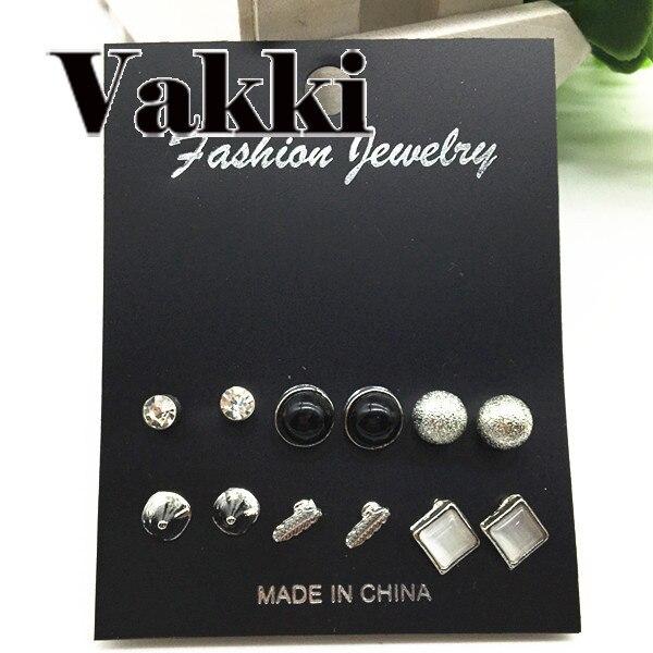 Геометрия 6 пар корейский комплект серьги Для женщин квадратные Кристалл серьга для Для женщин Имитация жемчужной сережкой Модные украшения