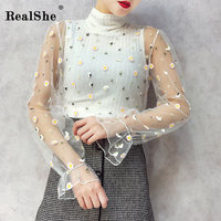 RealShe Women Flower Embroidery Shirt Women Turtleneck Sleeveless Knitted Tops Femme Sexy Transparent Lace Shirts