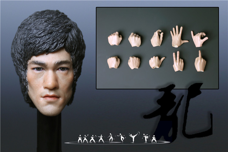 купить 1/6 Soldiers Doll Model Bruce Lee Head Carving Includes 10 Hand Suit Raptors Across The River Non-EB 12