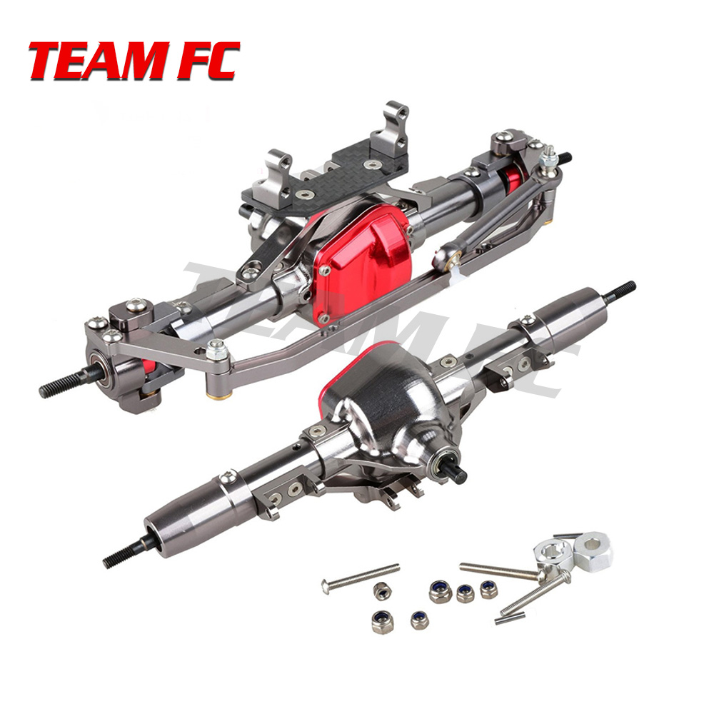 TeamFc Rc Car CNC Machined Complete Alloy Front and Rear Axle With 25T Servo Arm for RC 1/8 1/10 Car RC4WD Axial SCX10 D90 Truck rc car 1 10 metal complete alloy front and rear axles for 1 10 rc crawler d90 scx10 rc4wd axial yota 2
