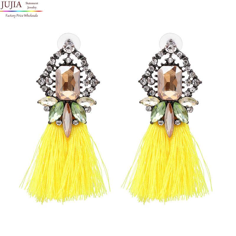 JUJIA 2017 Mới Tua Tuyên Bố Bông Tai Cưới Tua Nhiều Màu Thời Trang Hot Drop Dangle Earrings Jewelry Phụ Nữ 50089