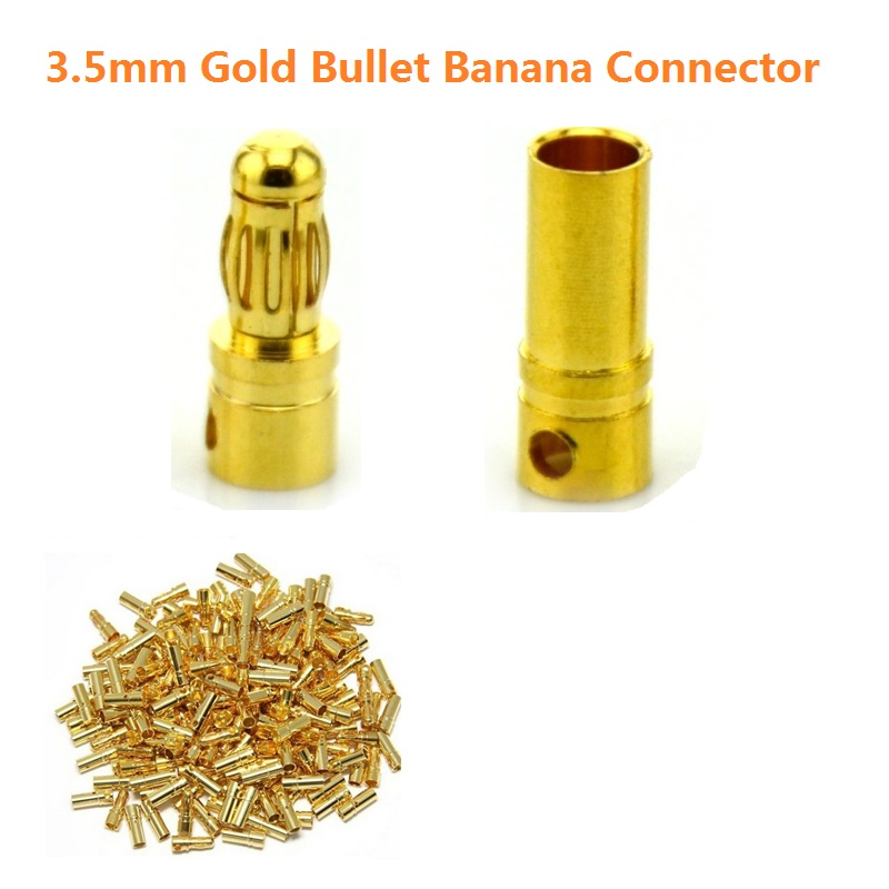 20pcs/lot <font><b>3.5mm</b></font> Gold <font><b>Bullet</b></font> Banana Connector <font><b>Plug</b></font> For ESC Battery Motor ESC (10 pair) image