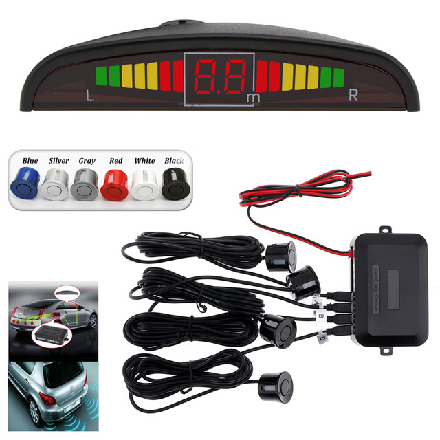 Car Parking Sensors Parktronics 4 Black/silver/white/red/blue Flat Sensors Reverse Backup Radar Sound Buzzer