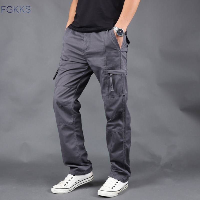 FGKKS Mens Cargo Pants Trousers Autumn Winter Men Casual Straight Solid Color Pants Male Warm High Quality Pants
