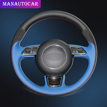 Car Braid On The Steering Wheel Cover for Audi A3 A4 A5 A6 A7 Allroad RS 7 2014-2015 S6 S7 2013-2018 S8 2013 Auto Wheel Covers цена